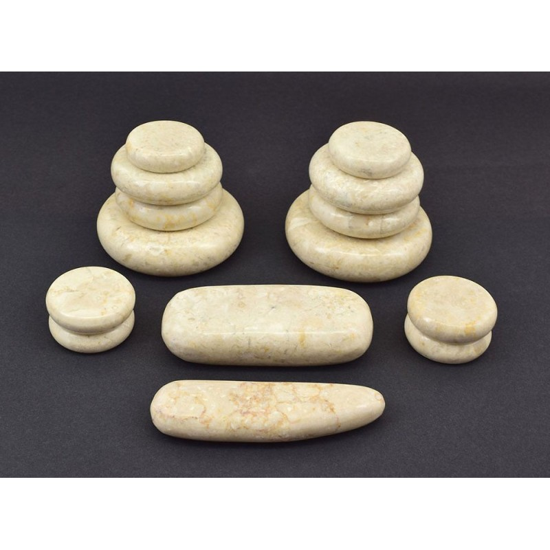 Masažo akmenys   kreminis marmuras